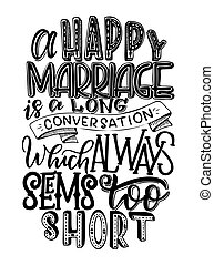vector illustration of hand lettering inspiring quote about marriage. Yand drawn poster