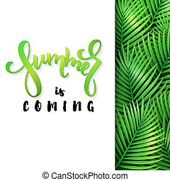 vector illustration of hand lettering poster - summer is coming with paper sheet on a background palm leaves