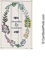 vector illustration of hand painted herbal set with wreath