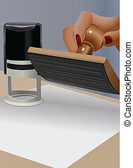 notary - vector illustration of hand ready to put the notary...