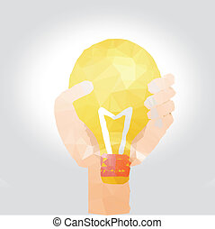Vector illustration of hand with bulb polygon design