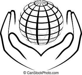 Vector illustration of hands holdin