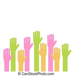Vector illustration of hands on white background