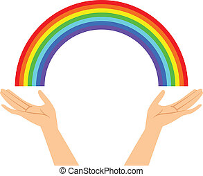 hands with rainbow - Vector illustration of hands with ...