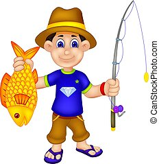 handsome angler cartoon standing with bring fish and fishing...