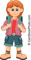 handsome backpacker cartoon standing with smile