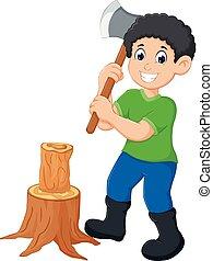handsome boy cartoon cutting tree with ax - vector...