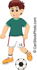 handsome boy cartoon playing football with smile