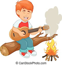 handsome boy cartoon playing guitar with sing