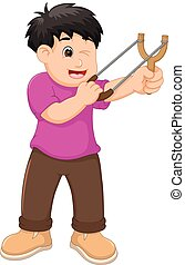 handsome boy cartoon playing slingshoot with smiling