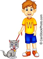 handsome boy cartoon standing bring cat with smile