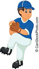 vector illustration of handsome catcher player cartoon in action