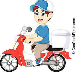 handsome food delivery person cartoon up motorcycle with...