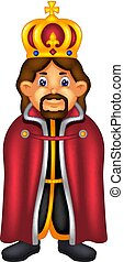handsome king cartoon standing with smiling