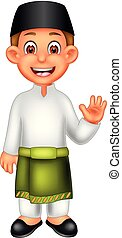 handsome malaysian boy cartoon standing with smile and waving