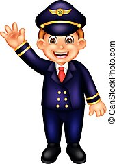handsome pillot cartoon standing with smile and waving