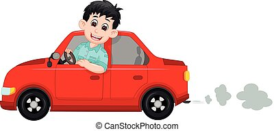 vector illustration of handsome taxi driver cartoon smile with riding