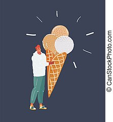 Vector illustration of handsome young man with big ice-cream isolated on dark background.