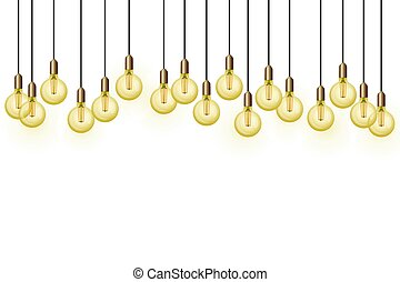 Background with retro bulbs Edison - Vector illustration of ...