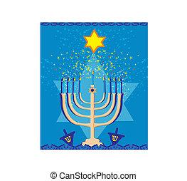 Vector illustration of hanukkah menorah abstract card