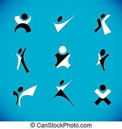 Vector illustration of happy abstract human with raised hands up. Business leader metaphor