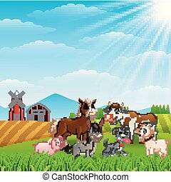 Happy animals at farm background