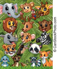 Happy animals forest together