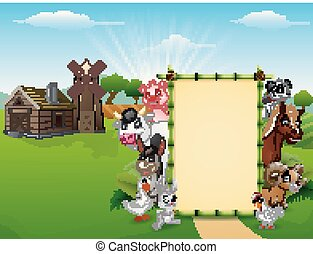 Happy animals with blank sign in front of farm