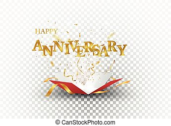 Vector Illustration of Happy Anniversary out of the box with gold confetti