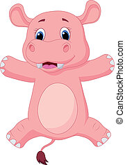 Happy baby hippo cartoon