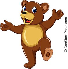 happy bear cartoon for you design - vector illustration of...