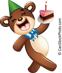 Happy bear cartoon holding birthday cake