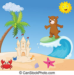 Happy bear cartoon surfing