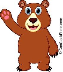 Happy bear cartoon waving hand