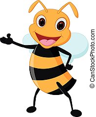 Happy bee cartoon presenting - Vector Illustration of Happy...