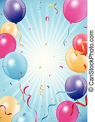 Happy Birthday background with balloon and confetti
