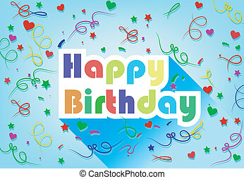 Happy Birthday Card Flat Design Wit
