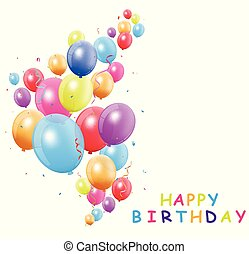 Happy birthday card with colorful balloon