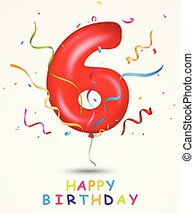 Happy Birthday, celebration greeting card with number and text