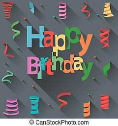 Happy Birthday text with ribbon