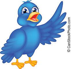 happy blue bird waving wings