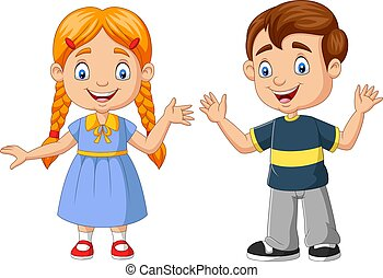 Happy boy and girl cartoon