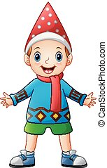 Happy boy cartoon wearing Christmas sweater with red scarf