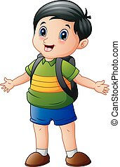 Happy boy cartoon with a backpack