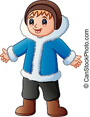 Happy boy in blue winter clothes