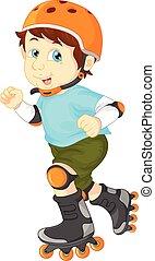 happy boy on roller skate - vector illustration of happy boy...