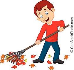 Happy boy raking leaves - Vector illustration of Happy boy...