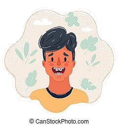 Vector illustration of happy boys face with braces