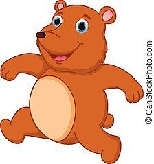 Happy brown bear cartoon