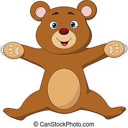 Happy brown bear cartoon jumping